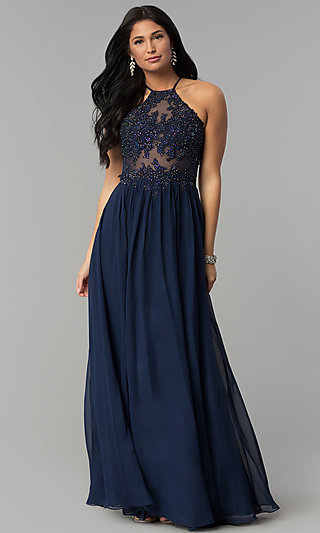 Embroidered-Appliqued-Bodice Long Prom Dress
