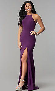 Image of racerback long jersey prom dress with side slit. Style: NA-Q131 Front Image