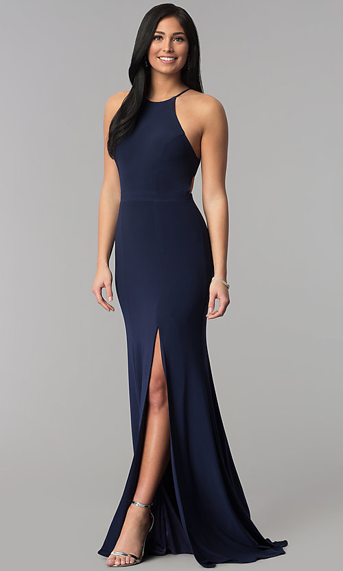 Image of racerback long jersey prom dress with side slit. Style: NA-Q131 Detail Image 2