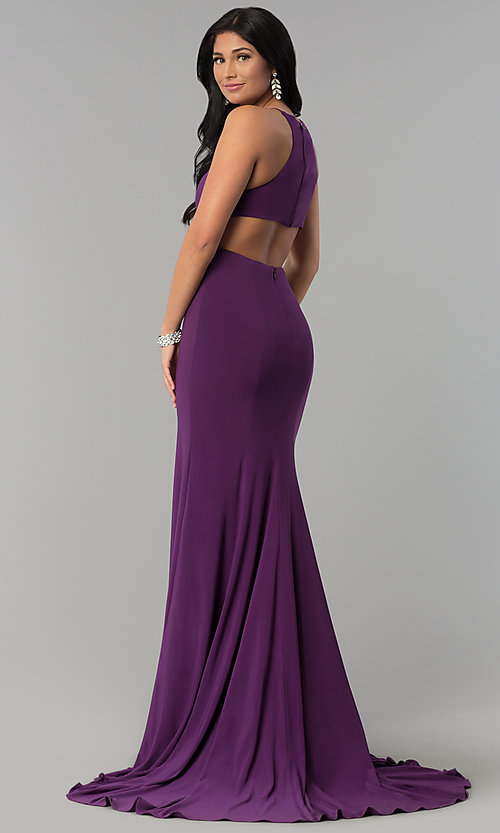 Image of racerback long jersey prom dress with side slit. Style: NA-Q131 Back Image