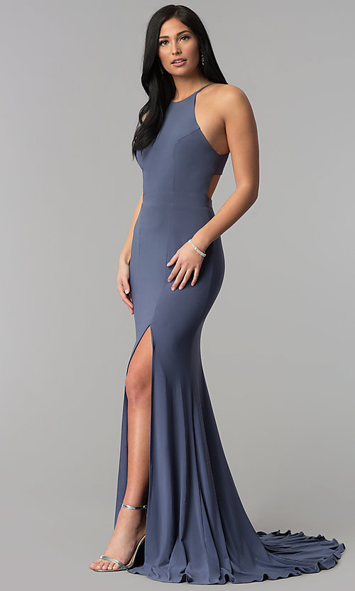 Image of racerback long jersey prom dress with side slit. Style: NA-Q131 Detail Image 3