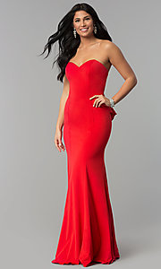 Image of long strapless sweetheart dress for prom. Style: NA-E002 Front Image