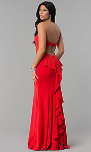 Image of long strapless sweetheart dress for prom. Style: NA-E002 Back Image