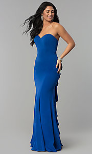 Image of long strapless sweetheart dress for prom. Style: NA-E002 Detail Image 3