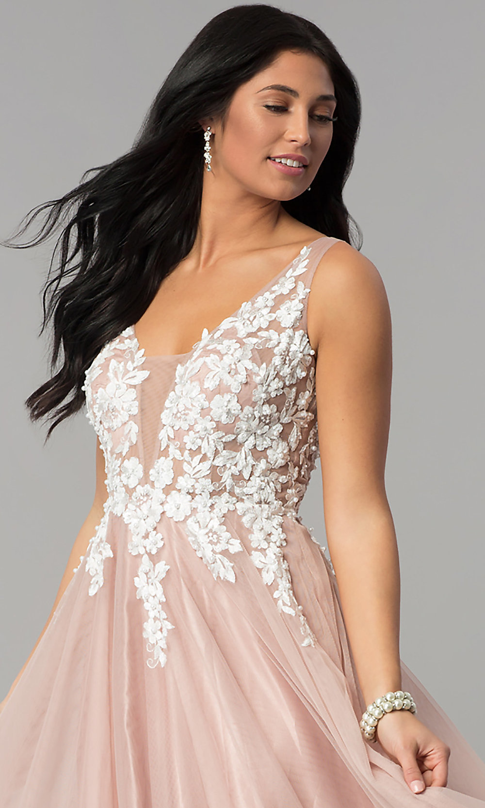 Embroidered-Bodice Tan Nude Tulle Prom Dress -PromGirl