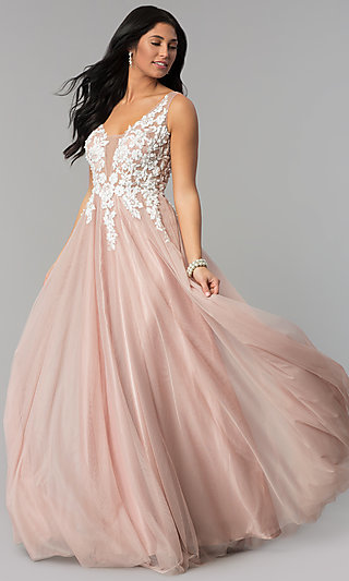 Long Tan Nude Prom Dress with Lace-Applique Bodice