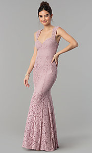Image of sweetheart long lace prom dress by PromGirl. Style: LP-PL-25066 Detail Image 2