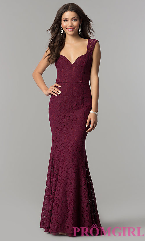 Image of sweetheart long lace prom dress by PromGirl. Style: LP-PL-25066 Front Image