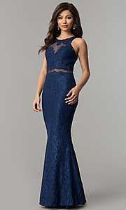 Image of mock-two-piece navy blue lace prom dress by PromGirl. Style: LP-PL-27348 Front Image