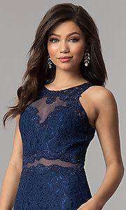 Image of mock-two-piece navy blue lace prom dress by PromGirl. Style: LP-PL-27348 Detail Image 1