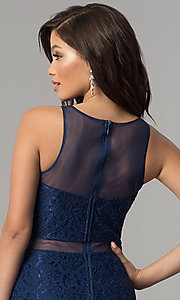Image of mock-two-piece navy blue lace prom dress by PromGirl. Style: LP-PL-27348 Detail Image 2