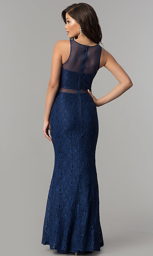 Image of mock-two-piece navy blue lace prom dress by PromGirl. Style: LP-PL-27348 Back Image