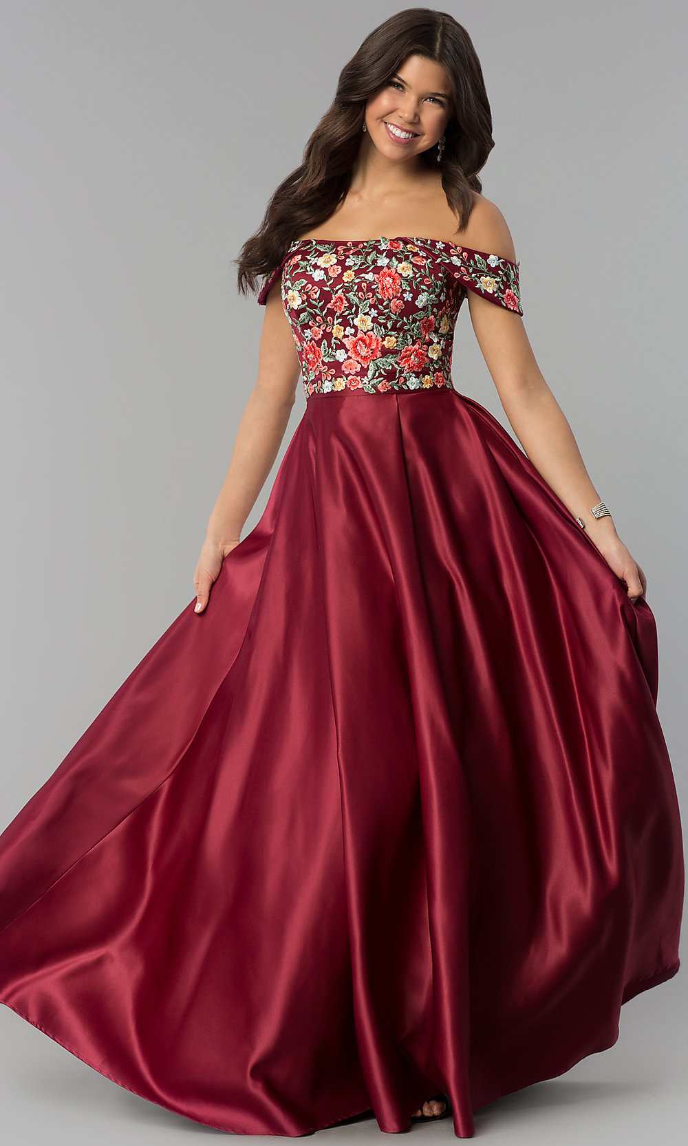 52a1c180850 Long Off-Shoulder Embroidered Prom Dress - PromGirl