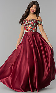 Image of long off-shoulder prom dress with floral embroidery. Style: PO-8260 Detail Image 3