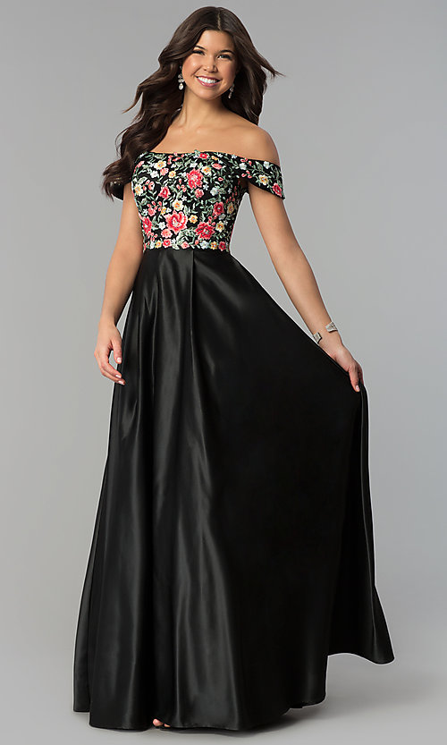 Image of long off-shoulder prom dress with floral embroidery. Style: PO-8260 Front Image