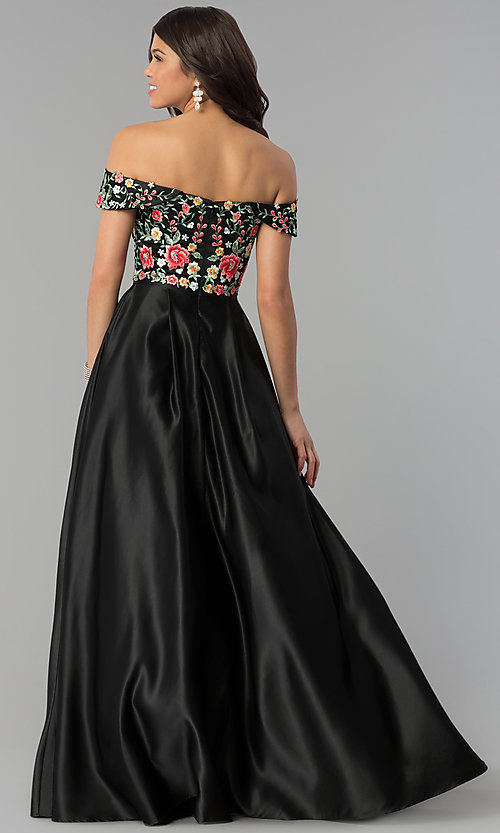 Image of long off-shoulder prom dress with floral embroidery. Style: PO-8260 Back Image