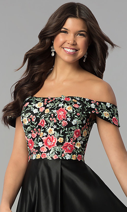 Image of long off-shoulder prom dress with floral embroidery. Style: PO-8260 Detail Image 1