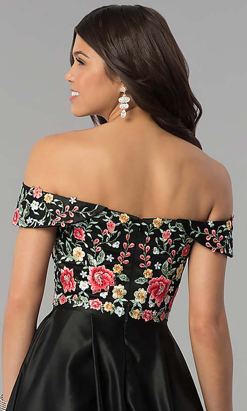 Image of long off-shoulder prom dress with floral embroidery. Style: PO-8260 Detail Image 2