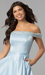 Image of long satin off-the-shoulder prom dress. Style: PO-8242 Detail Image 1