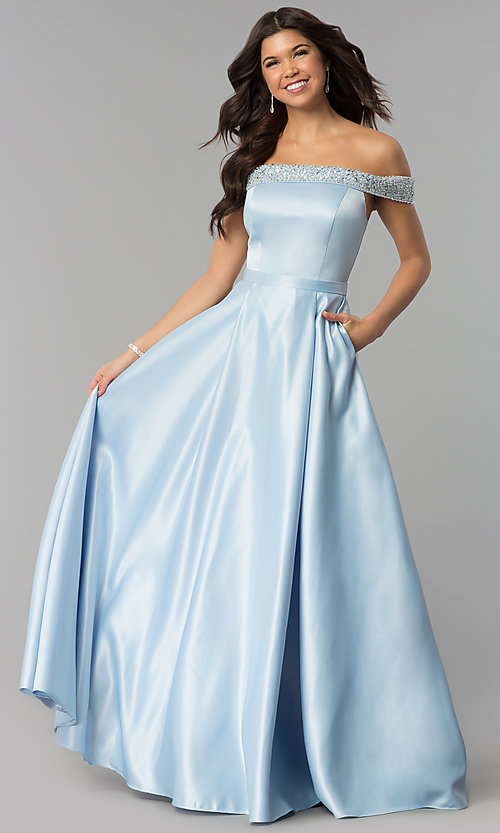 Image of long satin off-the-shoulder prom dress. Style: PO-8242 Front Image