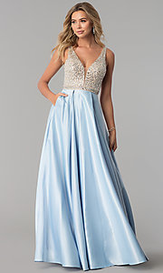 Image of bead-sequin-embellished v-neck long satin prom dress. Style: PO-8182 Detail Image 3