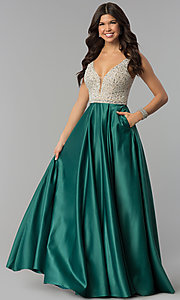 Image of bead-sequin-embellished v-neck long satin prom dress. Style: PO-8182 Detail Image 1