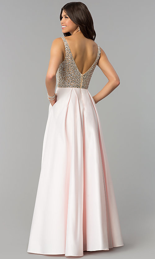 Image of bead-sequin-embellished v-neck long satin prom dress. Style: PO-8182 Back Image