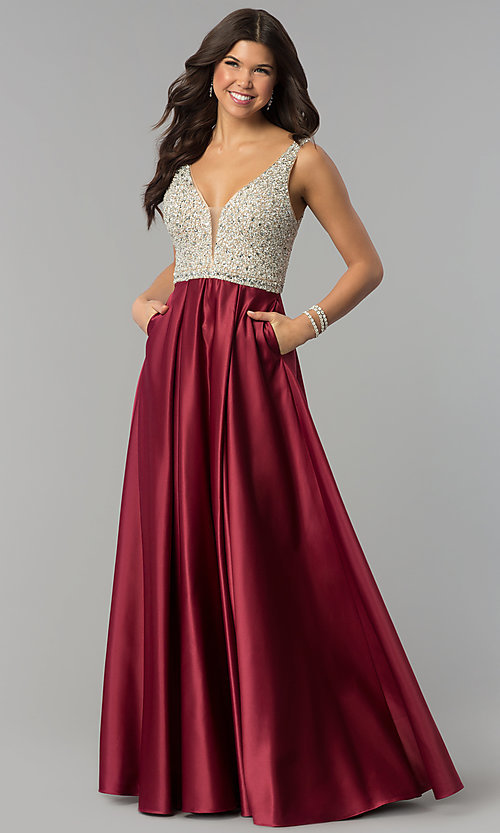Image of bead-sequin-embellished v-neck long satin prom dress. Style: PO-8182 Front Image
