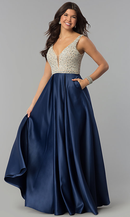Image of bead-sequin-embellished v-neck long satin prom dress. Style: PO-8182 Detail Image 2
