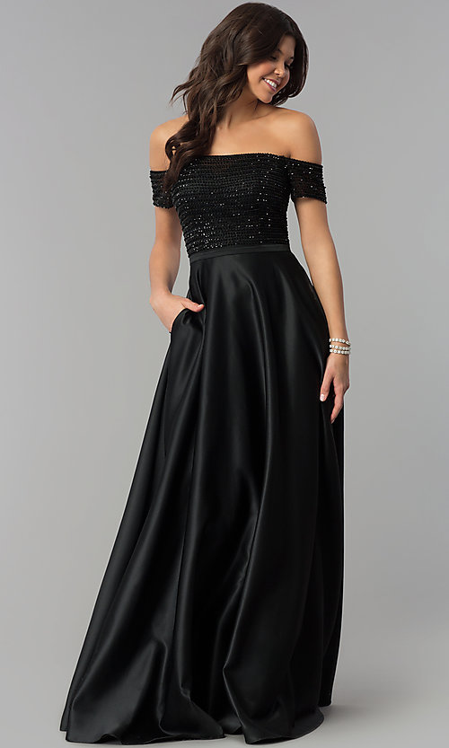 Image of sequin-bodice off-the-shoulder long prom dress. Style: PO-8132 Detail Image 1