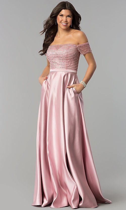 Image of sequin-bodice off-the-shoulder long prom dress. Style: PO-8132 Front Image