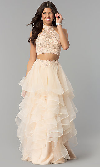 Two-Piece Long Prom Dress with Tiered Tulle Skirt