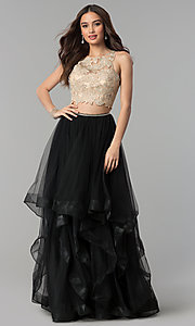 Image of two-piece long prom dress with embroidered applique. Style: PO-8176 Detail Image 2