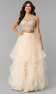 Two-Piece Long Prom Dress with Embroidered Applique