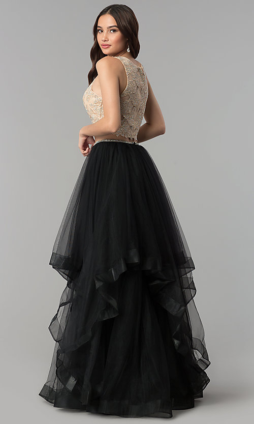 Image of two-piece long prom dress with embroidered applique. Style: PO-8176 Back Image