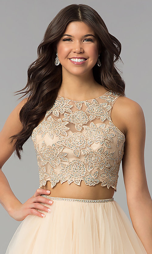 Image of two-piece long prom dress with embroidered applique. Style: PO-8176 Detail Image 1