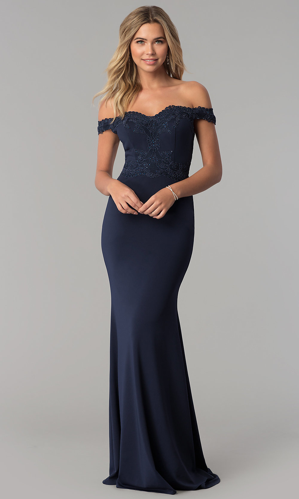 cb77407f9997 Image of embellished off-the-shoulder long prom dress. Style  PO-. Tap to  expand