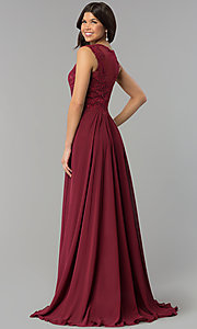 Image of long chiffon embroidered-bodice dress for prom. Style: PO-8254 Back Image