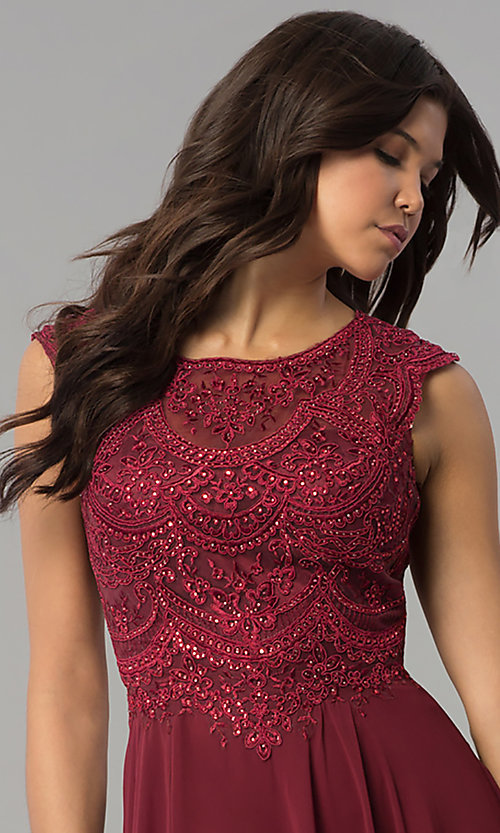 Image of long chiffon embroidered-bodice dress for prom. Style: PO-8254 Detail Image 1