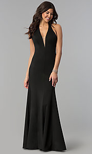 Long Halter V-Neck Black Prom Dress