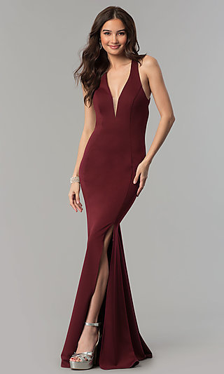 Long Open-Back Prom Dress with V-Neckline and Slit