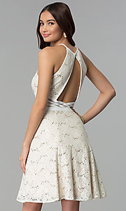 Image of glitter-lace short ivory graduation party dress. Style: MO-12398 Back Image