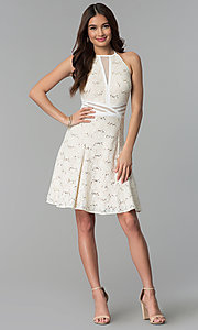 Image of glitter-lace short ivory graduation party dress. Style: MO-12398 Detail Image 3