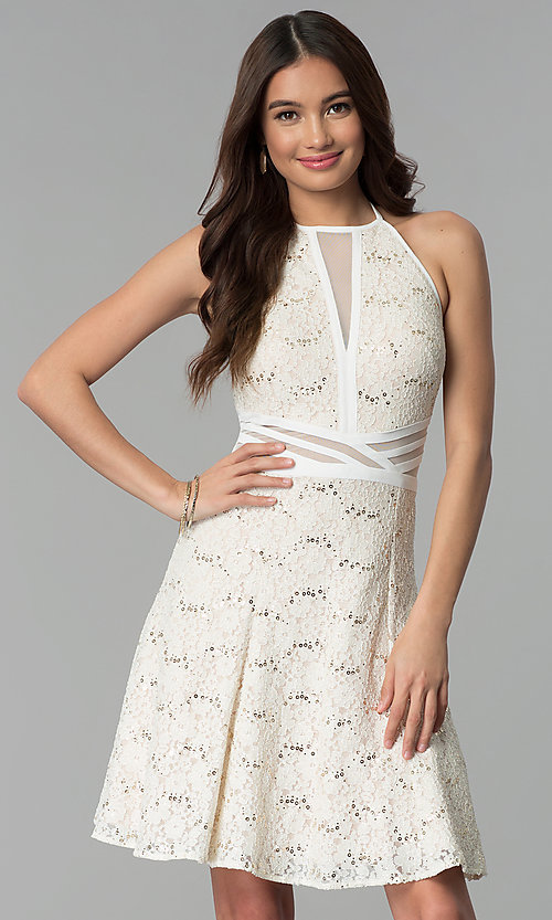 Image of glitter-lace short ivory graduation party dress. Style: MO-12398 Front Image