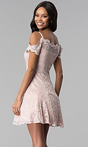 Image of short champagne pink lace party dress. Style: MO-12395-C Back Image