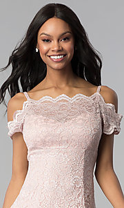 Image of short champagne pink lace party dress. Style: MO-12395-C Detail Image 1