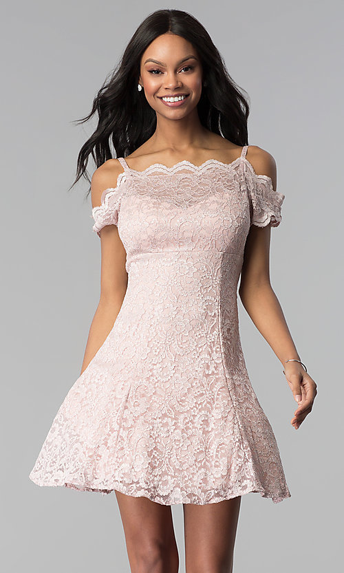 Image of short champagne pink lace party dress. Style: MO-12395-C Front Image