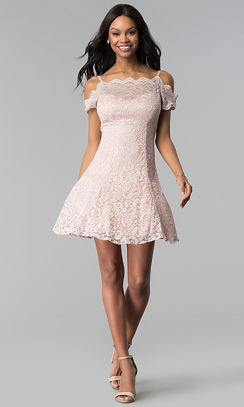 Image of short champagne pink lace party dress. Style: MO-12395-C Detail Image 3