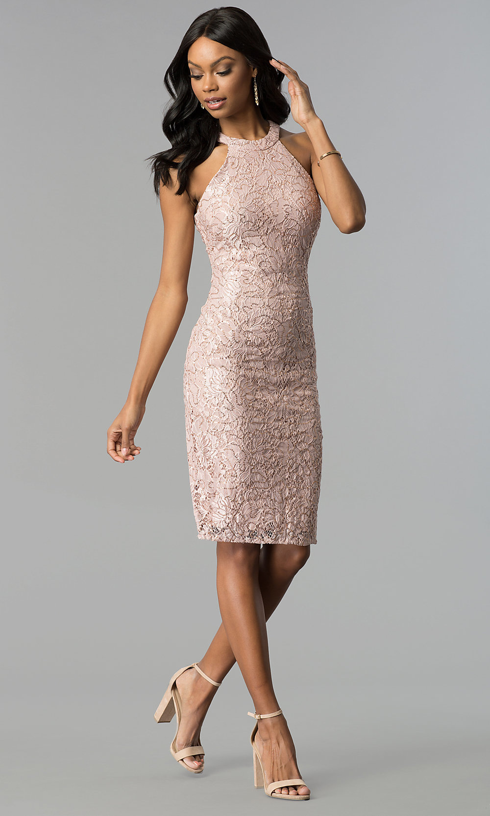 rose gold sequinedlace sheath party dress promgirl