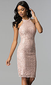 Image of rose gold lace knee-length sheath party dress. Style: MO-21616 Front Image